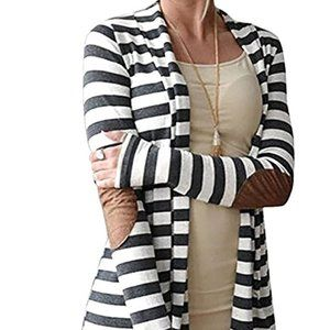 Sweaters - Elbow Patch Striped Open Front Cardigan Sz XL